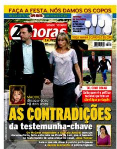 Capa da revista 24horas em Portugal
