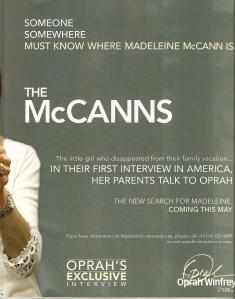 Publicidade para a entrevista de Gerry e Kate no show de Oprah